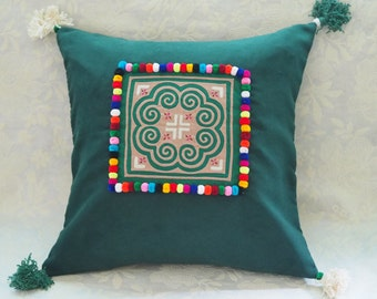 Boho Cushion Cover, Bohemian Pillow Cover, Ethnic Hmong Cushion Cover, Embroidered Thai cushions, Green Velvet Decorative Pillow