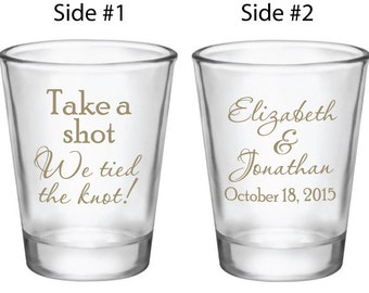 120 Wedding Favors Personalized Shot Glasses Custom NEW Take a Shot We tied the Knot! Wedding Designs for 2017 2018 weddings