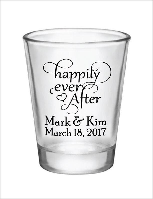 wedding favors shot glasses glass shot glasses happily