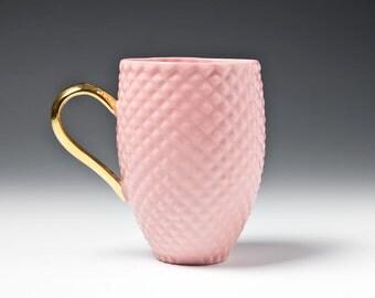 Pink Ceramic Mug, Tea Mug with Pineapple Pattern, Porcelain Coffee Mug