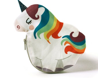 Unicorn Coin Purse, Rainbow, Cotton, white