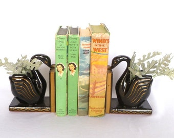 Vintage BLACK SWAN BOOKENDS/ Art Deco Swans