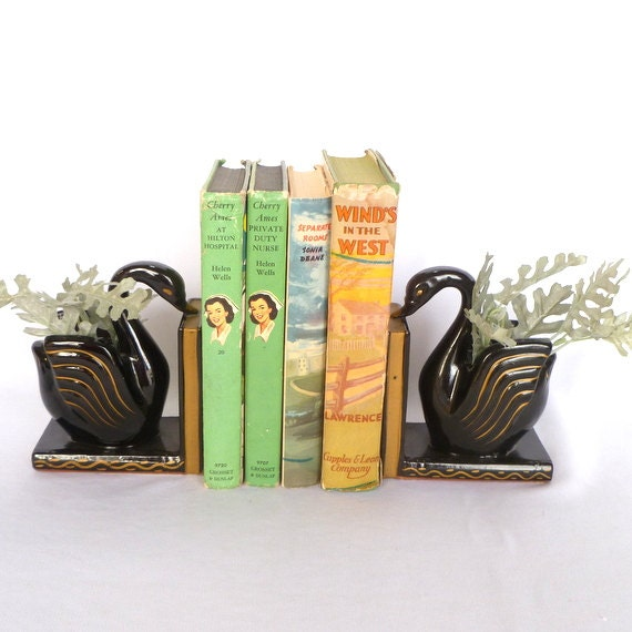 vintage black swan bookends art deco swans