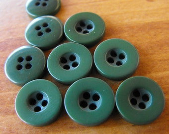 9 Forest Green Dipped Hole Round Buttons Size 7/16""