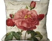 Red Wild Rose on a French Document on Burlap or Linen in Choice of 14x14 16x16 18x18 20x20 22x22 24x24 26x26 inch Pillow Cover
