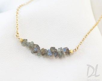 Rough Raw Labradorite Bar Necklace - Raw Stone Necklace - Gemstone Bar Necklaces - Layering Necklace - Delicate Gemstone Necklace - Minimal