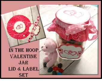In The Hoop Jar Label and Lid Cover With Hearts Embroidery Machine Design