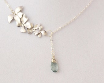 Silver Wild Orchid Lariat with Moss Aquamarine Sterling Silver Chain, March Birthstone, Gift Under 40