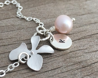 Personalized Silver Orchid Flower Bracelet, Freshwater Pearl, Sterling Silver Chain, Monogrammed Gift, Gift under 25