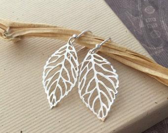Sterling silver leaf earrings, skeleton leaf, 925 silver leaf cut out, filigree, everyday minimalist jewelry E174
