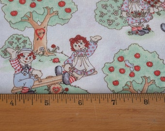 Vintage Raggedy Ann and Andy Fabric, One and 1/2 Yard Plus Cut, Daisy Kingdom, Cotton, Destash
