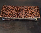 Leopard Print Leather Clutch   (cow hair)