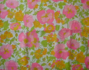 Pink Poppy Floral Polished Cotton Fabric, 1970s