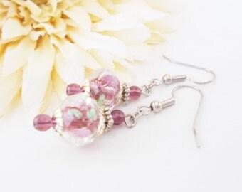 Purple Lampwork Earrings, Amethyst Purple Earrings, Light Purple Beaded Jewelry, Plum Purple Earrings, Purple Czech Glass Earrings