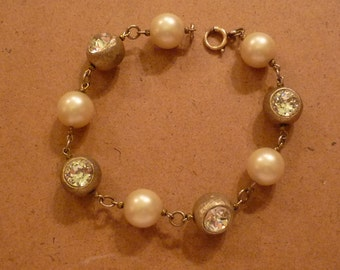 Pearl and Rhinestone Goldtone Bracelet