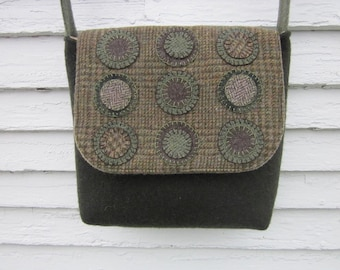 Wool penny rug bag, crossbody bag, messenger bag, wool purse