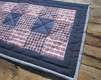 Homespun patchwork table runner, red, white and blue