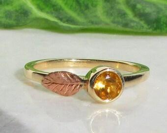 14k Gold Stacking Ring, Yellow Citrine, Rose Gold Leaf Ring, Citrine Birthstone Ring, Gold Stacking Ring, Rose Gold Ring, 14k Gold Ring