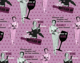 Saturday Evening Post Powers of Wine Pink cotton fabric from Springs Creative