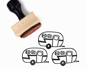 Camper Trailer Stamp - Hand Drawn Vintage Camper Rubber Stamp by Creatiate - Summer Road Trip Camping