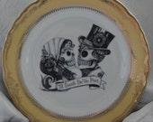 Skeleton Skull Wedding Couple Bride & Groom on Gold or Silver Dinnerware/Dishes/Plates, Goth Wedding, Steampunk Wedding, Victorian Wedding