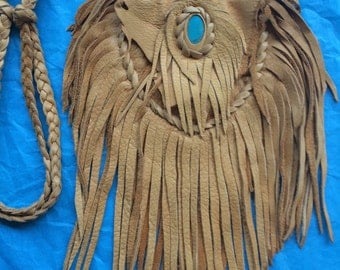 Vintage Fringed  Deerskin Medicine Bag with Turquoise, Necklace or Cross Body Bag, Shamanic Tool, Amulet Pouch