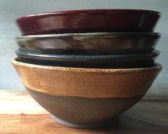 Contemporary Stoneware Bowls - Handmade Pottery Bowl Set - Ceramic Soup Bowl Set - Modern Rustic Ceramic Bowls - Salad Bowl Set