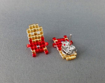 Iron Man Earrings - Avengers Earrings Pixel Earrings Comic Earrings 8-bit Jewelry Seed Bead Earrings Pixel Jewelry
