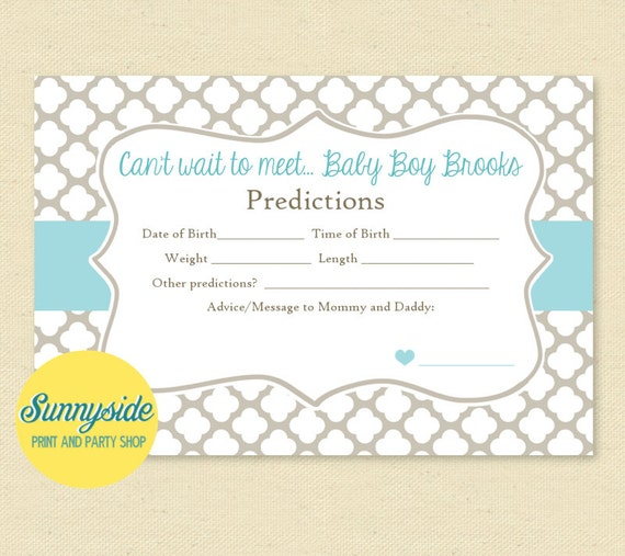 Baby Predictions Card - You Choose Color - Printable Baby Shower Game