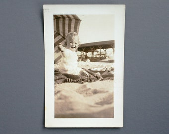 Vintage Photograph - Baby on Beach