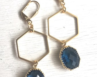 Gold Hexagon Earrings with Sapphire Blue Stones. Dangle Earrings. Drop Earrings. Jewelry. Gold and Navy Geometric Earrings. Gift. Jewelry.