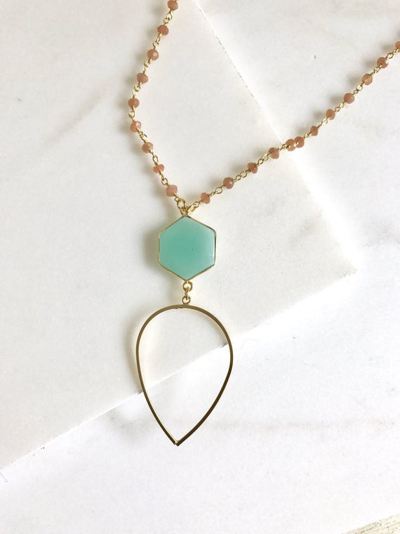 Long Aqua Chalcedony Necklace. Layering Necklace.  Beaded Necklace. Jewelry. Boho Jewelry. Peach Aqua Teardrop Pendant Necklace. Gift.