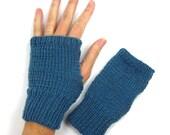 Twisted Teal Blue Fingerless Mittens Knitted Fingerless Gloves Handwarmers Bike Gloves Texting Mitts for Teen Girls Women Small Medium Hands