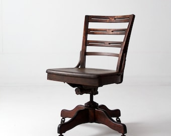 antique desk chair, wood swivel office chair on casters