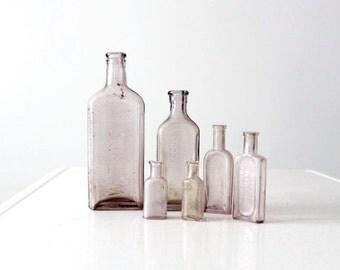 SALE antique apothecary bottle collection, set purple glass bottles