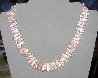 Peachy Biwa Cultured Pearl Necklace, ON SALE