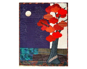 Red tree modern textile wall art in bold colors