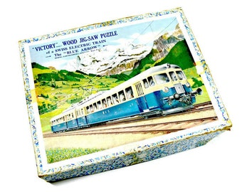 Victory Wood Jigsaw Puzzle - Swiss Electric Train - The Blue Arrow - G. J. Hayter Co. - Made in England