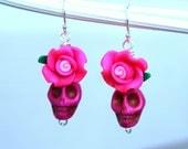 LOVE SALE Day of the Dead Skull and Rose Earrings in Pink. Dia de los Muertos. Halloween.