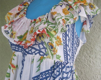 Denise L Dress 70s 60s Dress - Romantic Ruffle Empire Dress by Denise L of Hermosa Beach - Boho Chic Festival Dress with Oodles of Fabric