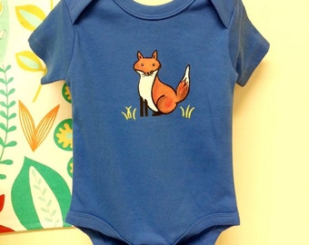 Fox Baby/Organic baby clothes Hand Painted Bodysuit / blue onezee, cute baby clothes, fox