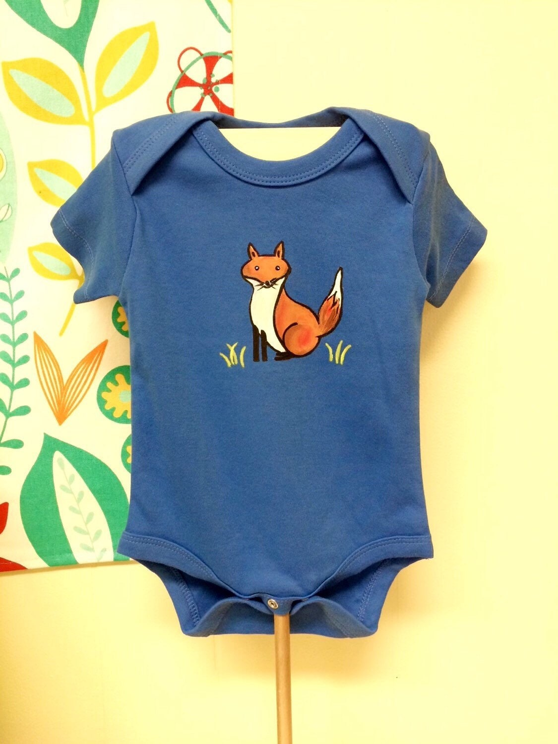 Fox Baby Organic baby clothes Hand Painted Bodysuit blue