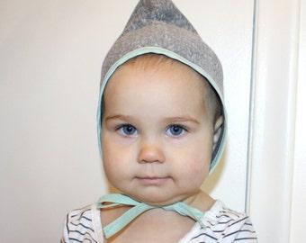 PIXIE TODDLER BONNET 12-36 mo triblend gray boy girl unisex pointy elf hat