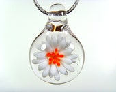 Small Blown Glass White and Orange Daisy Pendant, Your Choice of Black Satin Cord, Cotton Cord or Sterling Chain
