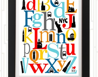 I (heart) NYC Iconic buildings ABC Nursey Art Print