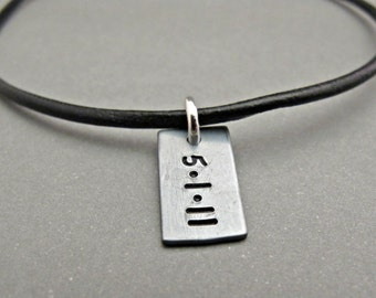 Mens Personalized, Mens Jewelry, Gift, Silver Leather Necklace