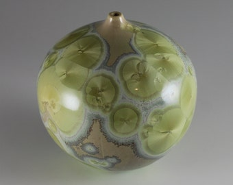 Little Round Sage Green Crystalline Glazed Vase