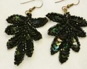 Black Sequins vintage Earrings