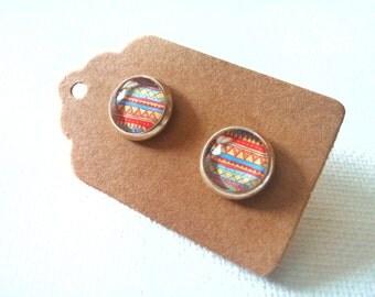 Tribal Earrings - Tribal Studs - Geometric Studs - Tribal Jewelry - Cheveron Earrings - Cheveron Studs