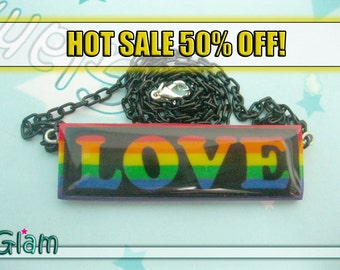 HOT SALE Pride Colors Rainbow LOVE necklace